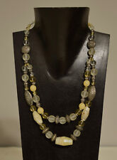 Necklace Double Strand Agate Buri Nut Silver Beaded Necklace