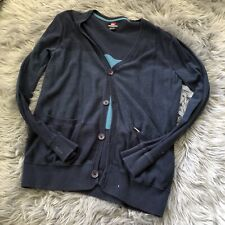 Quicksilver Men's casual Button Up Cardigan  Sweater Large Blue Striped