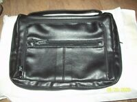 "Black Leather Holy Bible Book Carrying Case Organizer; Tote; 10"" x 6.5"" x 2.5"""