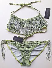 BIKINI New Look Top UK 12 Bottoms UK 16 Green & Black Ethnic Fringe Design BNWT