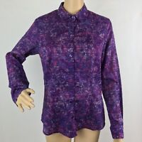 Coldwater Creek No Iron Blouse Top Shirt XS Purple Button Down Long Sleeve
