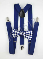 Royal Blue Checkered Bow Tie Royal Blue Suspender Mens Adult Combo Set SBTS45