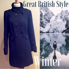 MARKS AND SPENCER COAT SIZE 14 UK NAVY BLUE BUTTON SPOTTY LINING