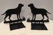 "Vtg Beautiful Black Wrought Iron Labrador Golden Retriever 7-1/2"" Wide Book Ends"
