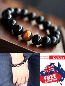 12mm Black Obsidian And Tiger Eye Stone Chakra Bracelet Natural Healing Bead 1pc