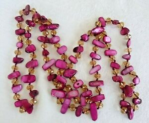 Versatile 44-Inch Long Dyed Shell & Crystal Necklace Hand-Strung & Knotted