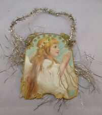 Victorian Vintage Handcrafted Girl Angel Praying W/ Tinsel *