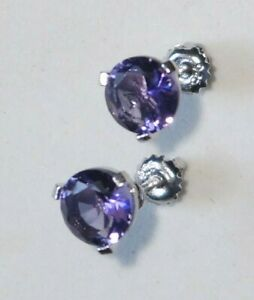 Sterling Silver Amethyst Pierced screw-back Earrings (466A)