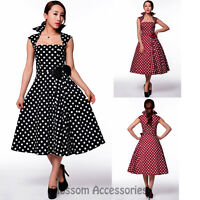 RK15 Rockabilly  Polka Dot Swing Work Dress Black 40s 50s Retro Emo Pin Up Plus