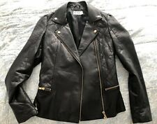 Alice By Temperley Soft Leather Fitted Biker Jacket, Size 8