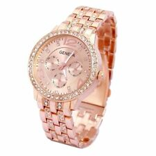 ROSE GOLD Geneva Chronograph Designer Style Ladies Womens Crystals Bling Watch
