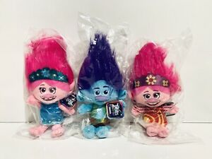 Trolls World Tour 8in Plush Toys Poppy And Branch 3+  Lot (3)  NEW