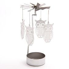 Owl Tealight Powered Metal Spinning Tea Light holder Decoration