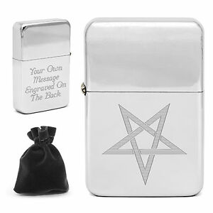 Personalised Engraved Pentangle Five Pointed Star Pentalpha Lighter Wicca Pagan