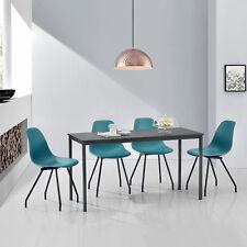 [en.casa] MESA de Comedor Con 4 sillas gris/turquesa 140x60cm Cocina