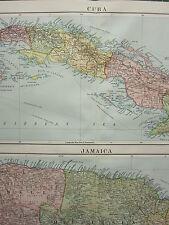 1919 LARGE MAP ~ CUBA & JAMAICA ~ SURREY MIDDLESEX KINGSTON CORNWALL