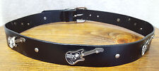 "Electric Guitar-Bonded Leather Belt-Size M 31-35""-Black-Redhead Rebels-Indi Rock"