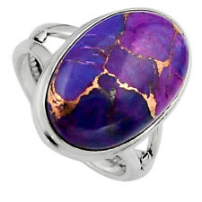 11.27cts Purple Copper Turquoise 925 Silver Solitaire Ring Size 7.5 P95663