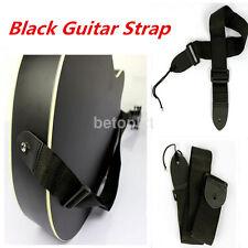 Adjustable Nylon Strap Belt Leather Ends for Electric Acoustic Guitar Bass Black