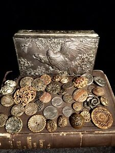 Old Victorian Button Collection in Antique Figural Silver Plate Eagle Box