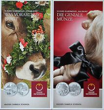 2 Saint-Flyer/Folder 10 euro argent/CU pièces commémoratives Austria Autriche 2013+2014