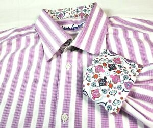 Robert Graham Mens Shirt Purple Stripe Contrast Cuff Large 16.5 42 Button Front