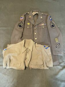 Original US WW2, Enlisted Mans Dress Tunic and Shirt, 7th Air Force, LARGE Sizes