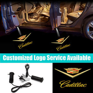 2Pcs Gold Cadillac Car Door Led Welcome Courtesy Laser Projector Shadow Lights