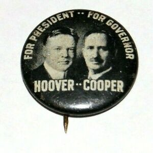 1928 HERBERT HOOVER CHARLES CURTIS campaign pin pinback badge political button