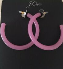 NWT J.Crew 100% Authentic Lucite Hoop Pink Begonia Earrings