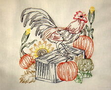 Vintage Barn Yard Rooster In The Morning Embroidered Flour Sack Towel