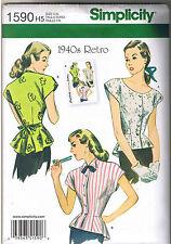 Vtg 40s Retro Peplum Blouse Tops Simplicity 1590 Sewing Pattern Sz 6 8 10 12 14