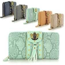 Ladies Large LYDC Leather Style Snake Print Tassel Trim Purse Clutch Bag Wallet