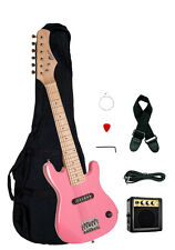 "Raptor 30"" Kids 1/2 Size PINK Electric Guitar Package with Amp, Gig Bag, Strap"