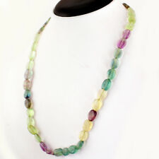 Hand Made 212.05 Cts Natural 20 Inches Long Rich Multi Fluorite Beads Necklace