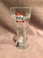 1664  France Kronenbourg Beer Pilson Glass Etched Signed EUC .25L
