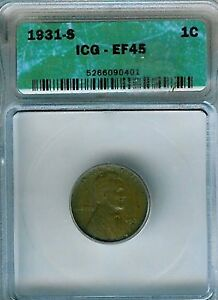 1931-S Lincoln Cent : ICG XF45