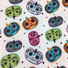 Cynthia Rowley Halloween Tablecloth Sugar Skull Pumpkin Jack-o-Lantern 60x104