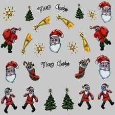 Xmas Nail Sticker Decal Water Transfer Christmas Tree Costume Party Nail Art