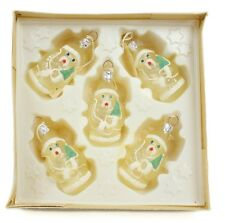 Green White Santa Vintage Handblown Eastern Europe Glass Christmas Ornament Set