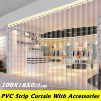 200*18*0.1cm PVC Plastic Strip Curtain Freezer Room Door Strip Kit Hanging Rail