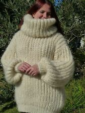 Ivory Longhair mohair Sweater Extra Chunky  T-neck removable by LanaKnittings