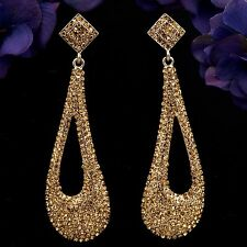 18K Gold Plated GP Topaz Crystal Rhinestone Chandelier Drop Dangle Earrings 7879