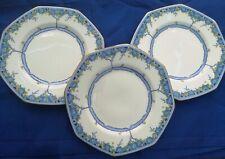 3 x Vintage 1930s Royal Doulton Deco Arvon Blue 20cm plates
