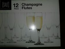 12 Piece SALT Champagne Flutes Glasses