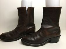 VTG MENS DOUBLE H STEEL TOE COWBOY LEATHER DARK BROWN BOOTS SIZE 8 D