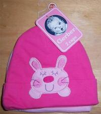 New Gerber 2 Pack Girl's Baby Caps, Baby Shower Gift, Hat, 12-24 Months