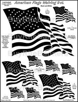 9 Waiving American Flag Decals/ Black and White. Laminated