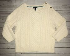 Tommy Hilfiger Women's Ivory Cable Knit 3/4 Sleeve Sweater Gold Buttons Sz XL