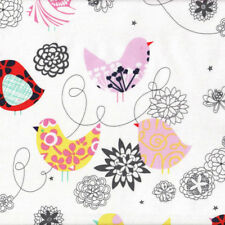Funky Retro Floral Birds on White Starling Quilting Fabric FQ or Metre *New*